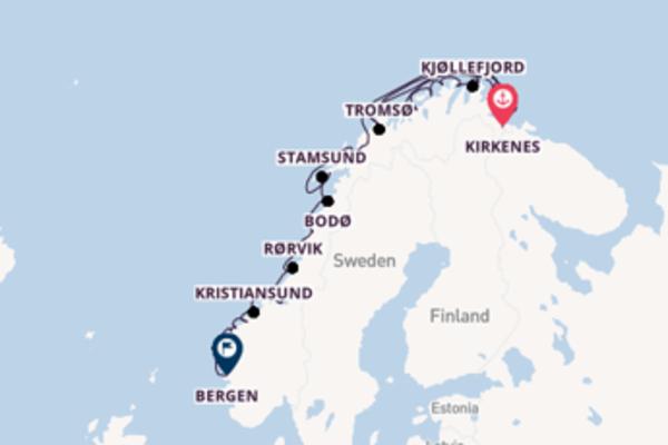 Geniet van een 6-daagse cruise naar Bergen, Noorwegen