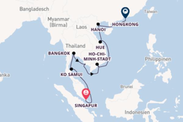 Beeindruckende Kreuzfahrt von Singapur nach Hongkong