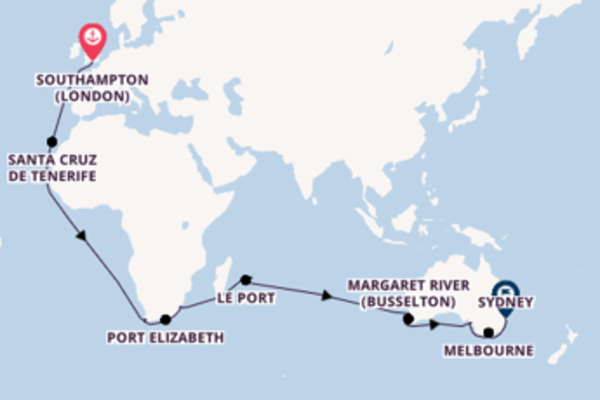 Sailing with Cunard from Southampton to Sydney