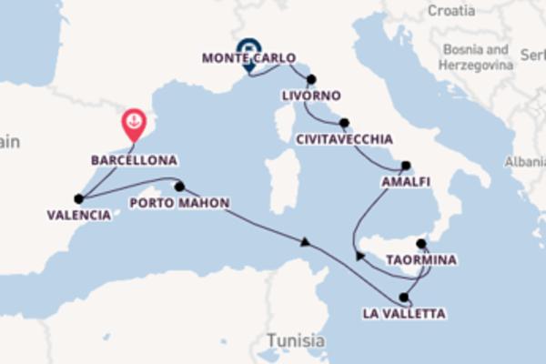 Affascinante crociera di 11 giorni passando per Amalfi