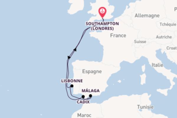 Gibraltar, depuis Southampton à bord du bateau Aurora