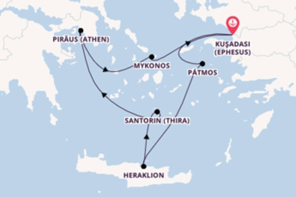 In 4 Tagen nach Kuşadası (Ephesus) über Santorin (Thira)