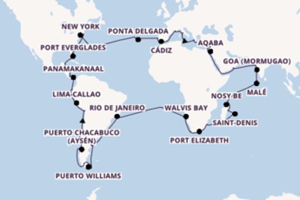 114-daagse cruise met de Costa Deliziosa vanuit Marseille
