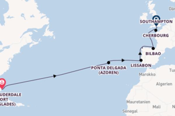 Von Fort Lauderdale (Port Everglades) über La Coruña in 16 Tagen