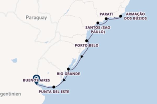 11-tägige Kreuzfahrt bis Buenos Aires