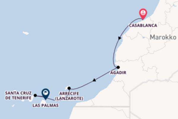 Casablanca, Arrecife (Lanzarote) und Las Palmas erkunden
