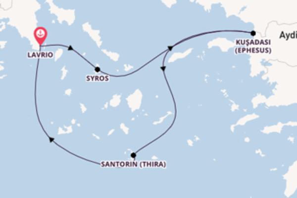 Von Lavrio über Kuşadası (Ephesus) in 4 Tagen
