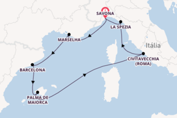 Formidável cruzeiro de 8 dias até Savona