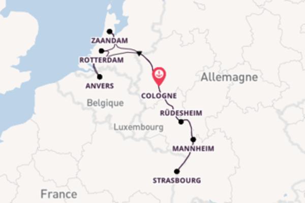 Rüdesheim, Allemagne, depuis Cologne, Allemagne à bord du bateau DCS Alemannia