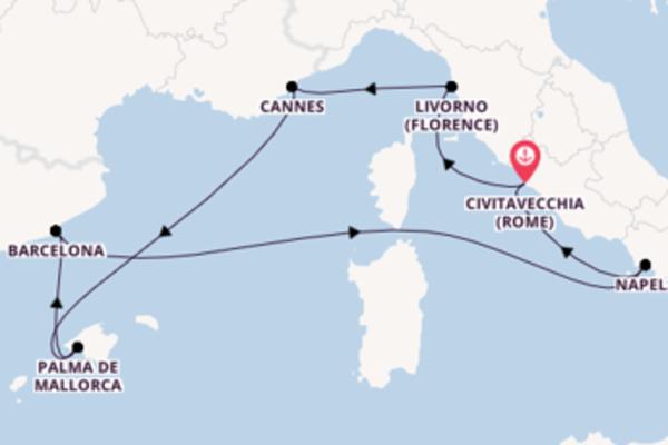 Cruise vanuit Rome naar Florence, Cannes & Barcelona