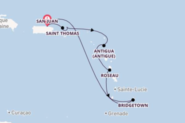 8 jours de navigation à bord du bateau Carnival Fascination depuis San Juan
