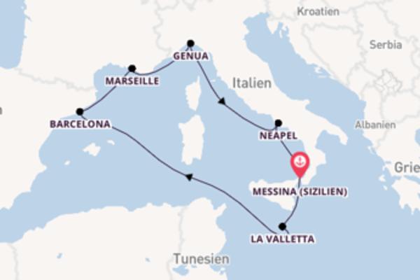 Herrliche Kreuzfahrt über Genua nach Messina (Sizilien)