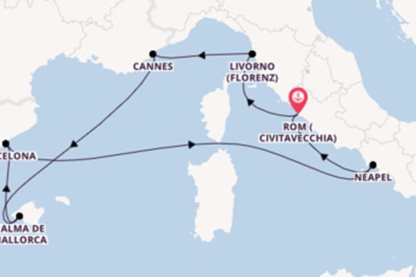 In 8 Tagen nach Civitavecchia über Livorno