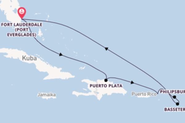 Spannende Kreuzfahrt über Puerto Plata nach Fort Lauderdale (Port Everglades)