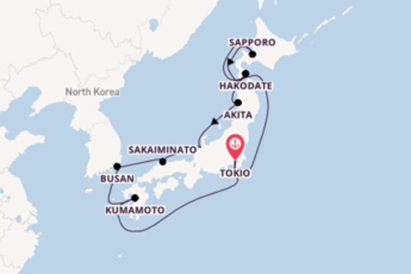 Geniet van een 11-daagse cruise naar Tokio
