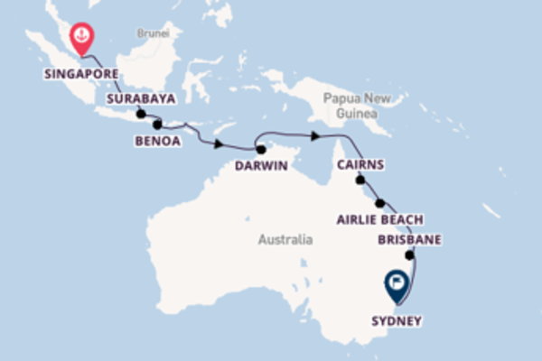 Crociera da Singapore verso Cairns