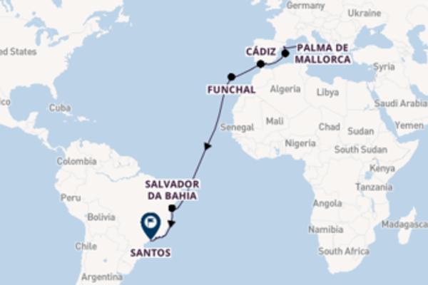 Geniet van een 21-daagse cruise naar Santos