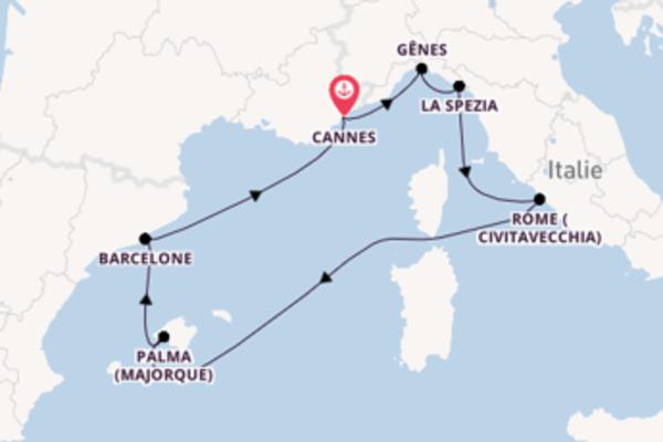 8 jours de navigation à bord du bateau MSC Grandiosa depuis Cannes