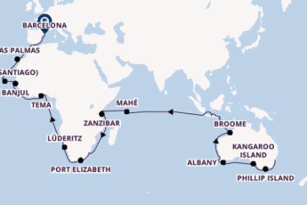 82-daagse cruise met de Seabourn Sojourn vanuit Sydney