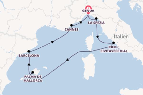 8-tägige Kreuzfahrt bis Genua