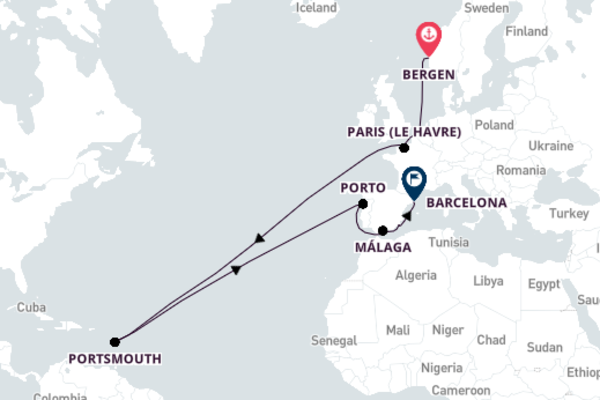 Cruising to Barcelona from Bergen 15-Day Journey
