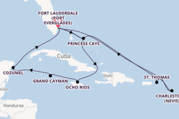 15 day cruise with the Caribbean Princess to Fort Lauderdale (Port Everglades)