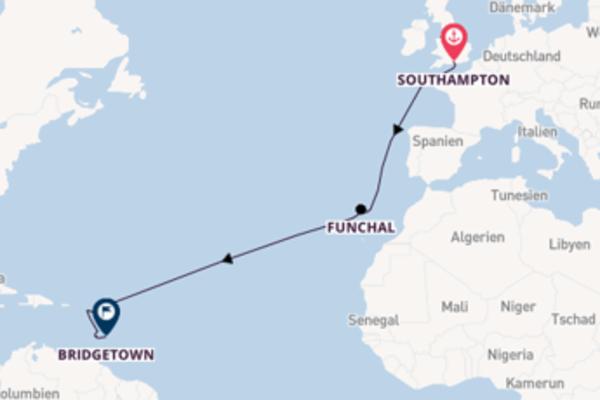 Kreuzfahrt mit der Britannia nach Bridgetown