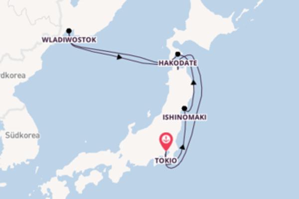 Aufregende Kreuzfahrt über Wladiwostok nach Tokyo