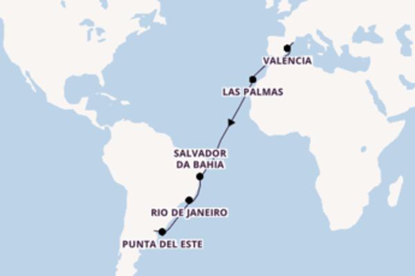 19-tägige Kreuzfahrt ab Barcelona
