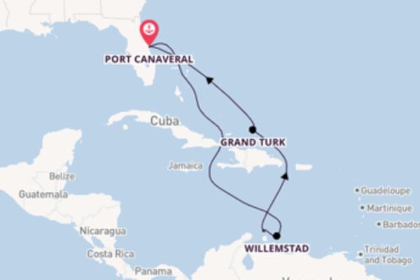 Cruise naar Port Canaveral via Oranjestad