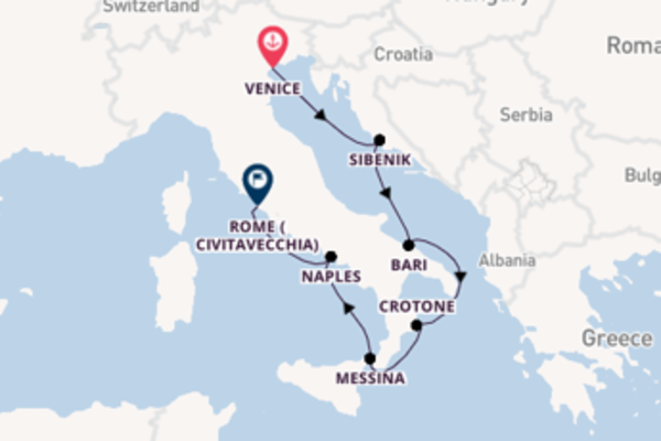 Voyage from Venice to Civitavecchia via Naples
