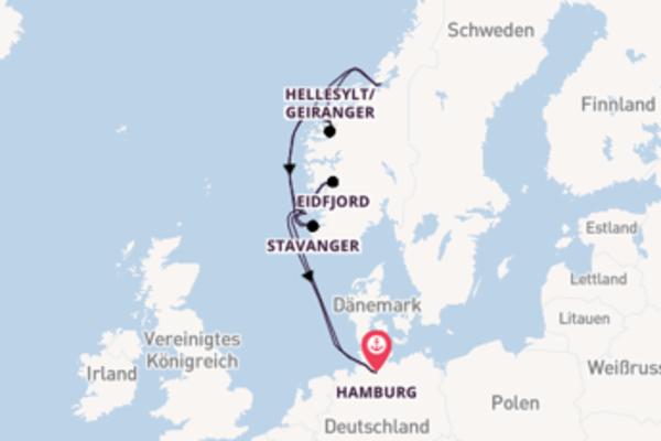 Eindrucksvolle Kreuzfahrt über Haugesund nach Hamburg