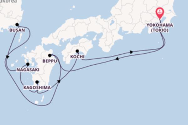 In 10 Tagen nach Yokohama (Tokio) über Beppu
