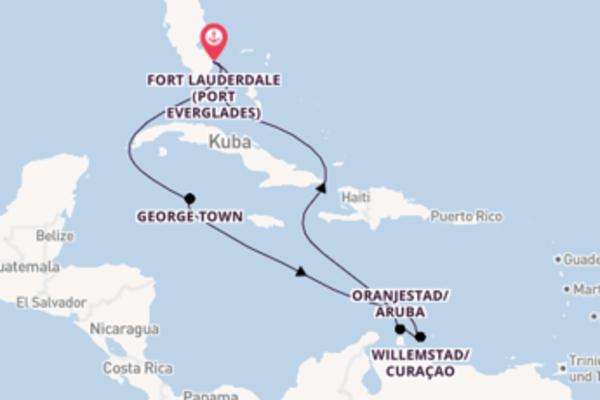 Einmalige Kreuzfahrt über Willemstad/Curaçao nach Fort Lauderdale (Port Everglades)