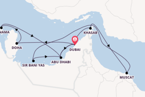 16-daagse droomcruise vanuit Dubai