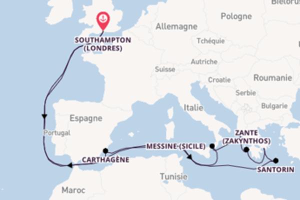 Étonnante croisière vers Southampton (Londres) via Carthagène