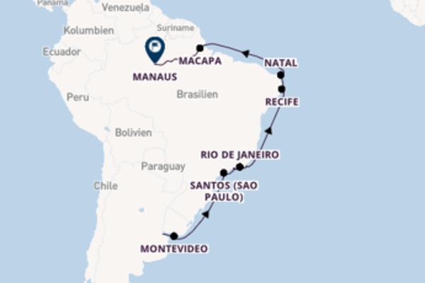 Erleben Sie Buenos Aires, Natal und Manaus
