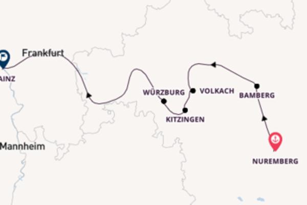 Trip from Nuremberg to Mainz via Volkach