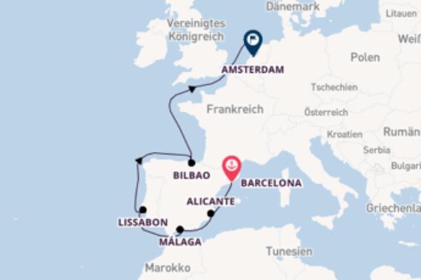 10-tägige Kreuzfahrt von Barcelona nach Amsterdam