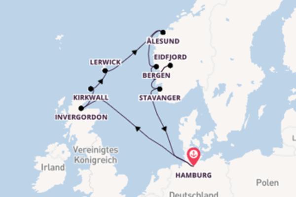 Zauberhafte Kreuzfahrt über Bergen nach Hamburg