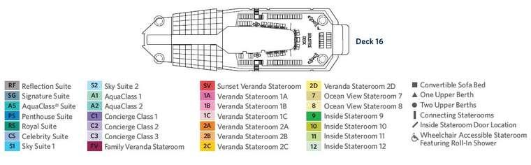 精致邮轮水印号 Deck 16 Solstice Deck