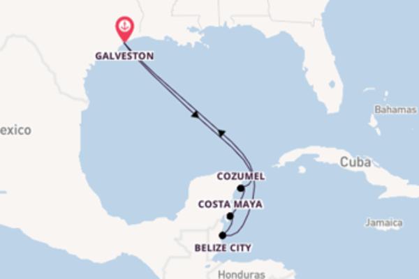 Navigando da Galveston verso Costa Maya