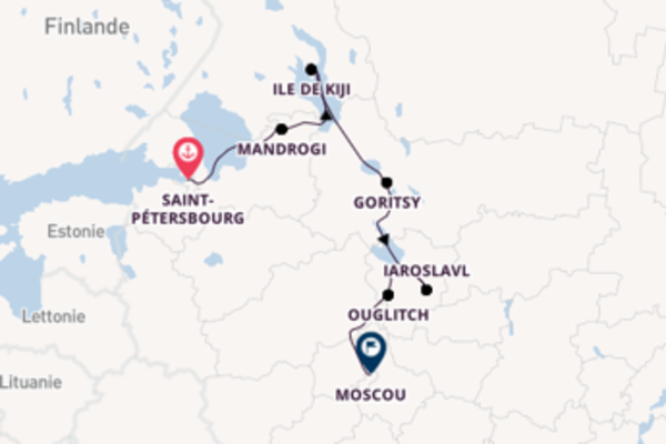 , depuis Saint-Pétersbourg, Russie à bord du bateau Nizhny Novgorod