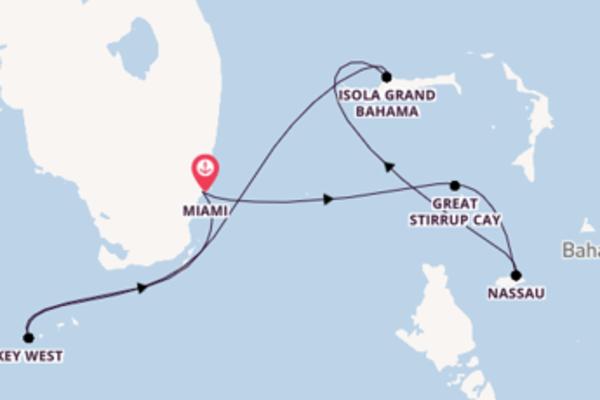 Navigando da Miami verso Isola Grand Bahama