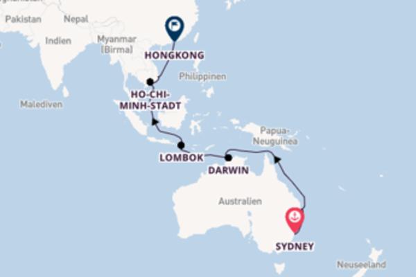 Herrliche Kreuzfahrt von Sydney nach Hongkong