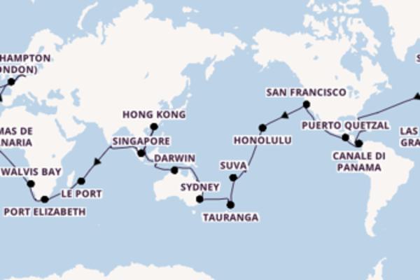 Giro del mondo in 114 giorni a bordo di Queen Victoria