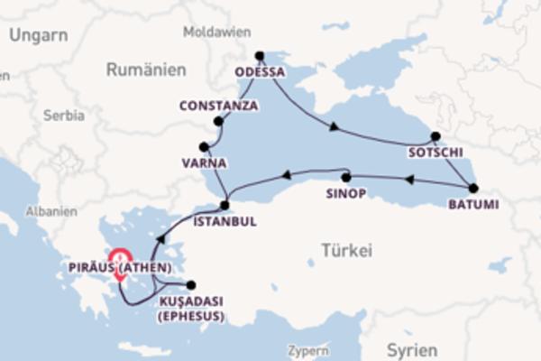 In 15 Tagen nach Piraeus