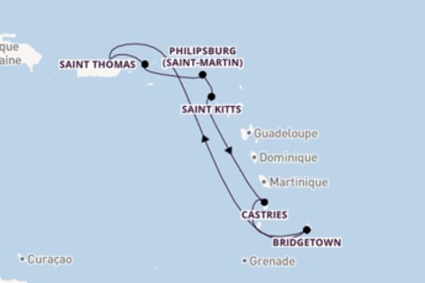 Saint Thomas depuis San Juan pour une croisière de 8 jours