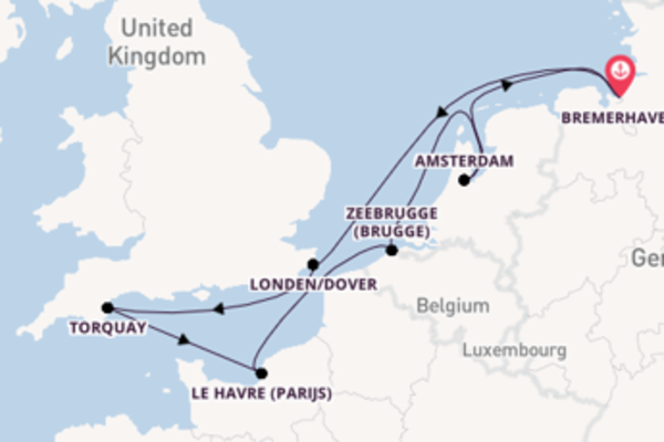 Maak een droomcruise naar Londen/Dover
