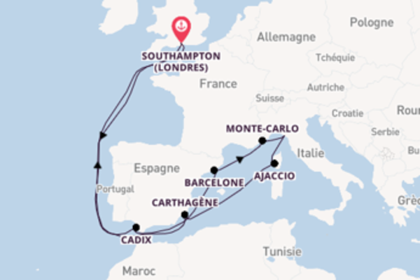 15 jours de navigation à bord du bateau Queen Victoria depuis Southampton (Londres)